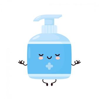 Nette glückliche lächelnde antiseptische flasche meditieren. cartoon charakter illustration icon design.isolated auf weißem hintergrund