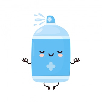 Nette glückliche lächelnde antiseptische sprühflasche meditieren. cartoon charakter illustration icon design.isolated