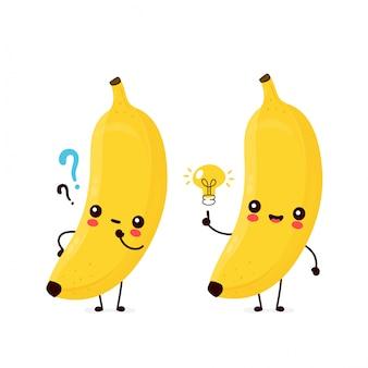 Nette glückliche lächelnde bananenfrucht mit fragezeichen und ideenglühbirne.