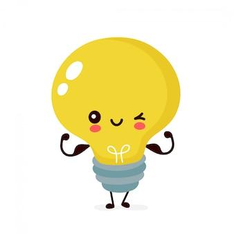 Nette glückliche lächelnde glühbirne zeigen muskelbizeps. flache karikaturillustration. auf weißem hintergrund isoliert. glühbirnen-charakter-konzept