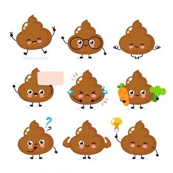 Nette glückliche lächelnde heckzeichensatzsammlung. poop charakter-konzept