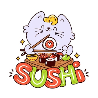 Nette glückliche lächelnde katze essen sushi-logo. flache karikaturcharakterillustrationsikonenentwurf. asiatische speisekarte. sushi-bar-logo-konzept. auf weißem hintergrund isoliert