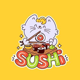 Nette glückliche lächelnde katze essen sushi.