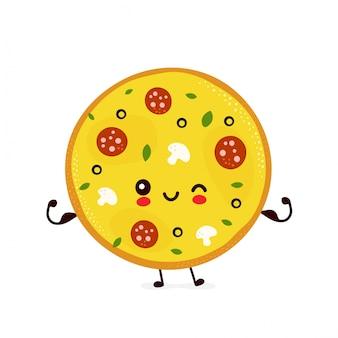 Nette glückliche lächelnde pizza zeigen muskel. zeichentrickfigur.