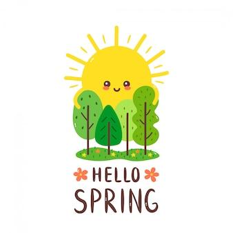 Nette glückliche lächelnde sonne umarmt bäume. hallo frühlingskarte. handzeichnung stil illustration karte desgin. isoliert auf weiss frühling, sonne, wald