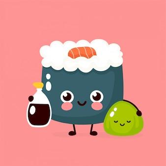 Nette glückliche lächelnde sushirolle mit sojasoße und wasabi