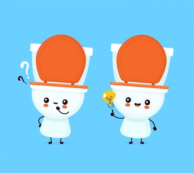 Nette glückliche lächelnde toilettenschüssel mit fragezeichen und ideenglühbirne.