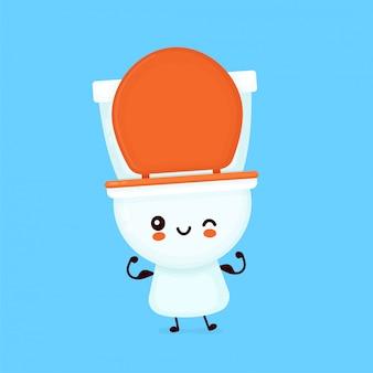Nette glückliche lächelnde toilettenschüssel zeigen muskel. zeichentrickfigur.