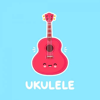 Nette glückliche lächelnde ukulelengitarre. flache karikaturfigur illustration design.isolated auf weißem hintergrund. ukulele gitarre, musik logo maskottchen konzept