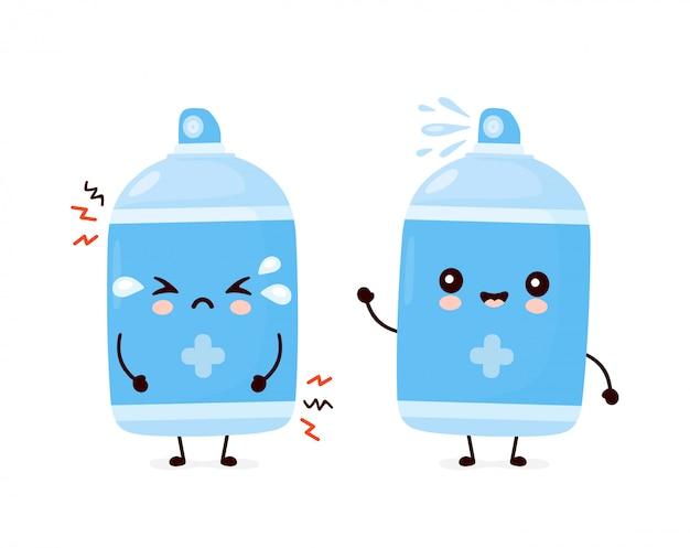Nette glückliche lächelnde und traurige antiseptische sprühflasche. cartoon charakter illustration icon design.isolated auf weißem hintergrund