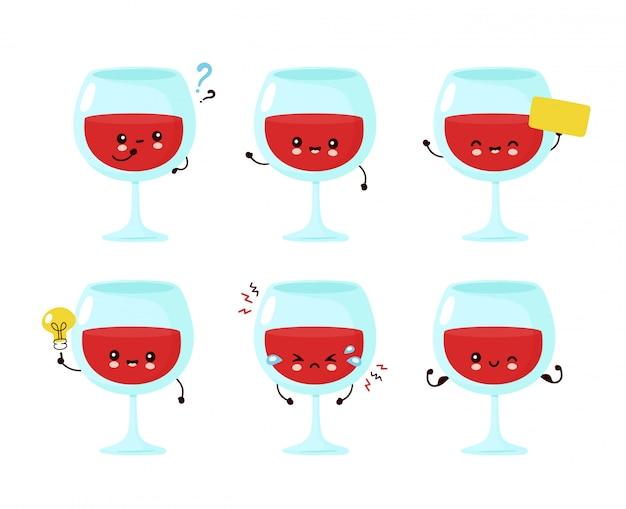 Nette glückliche lächelnde weinglas-set-sammlung. cartoon charakter illustration icon design.isolated auf weißem hintergrund