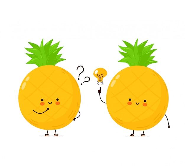 Nette glückliche lustige ananasfrucht mit fragezeichen und ideenglühbirne. cartoon charakter illustration icon design.isolated auf weißem hintergrund