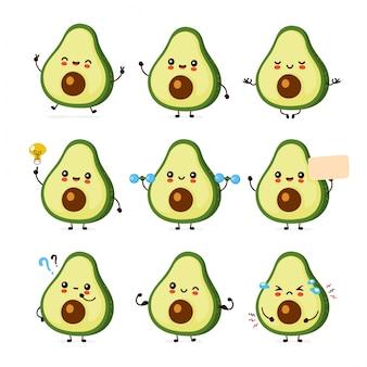 Nette glückliche lustige avocado-set-sammlung. cartoon charakter illustration icon design.isolated auf weißem hintergrund