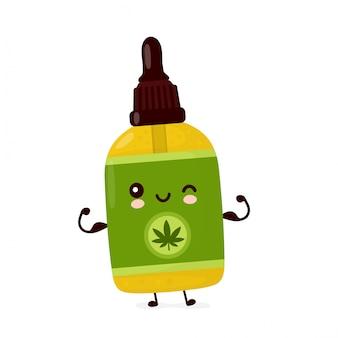 Nette glückliche lustige cannabis-cbd-ölflasche zeigen muskel. cartoon charakter illustration icon design.isolated
