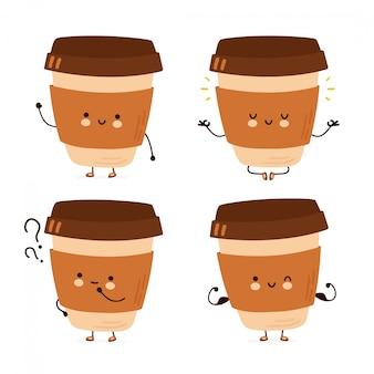 Nette glückliche lustige kaffeetassen-set-sammlung. hand gezeichnete artillustration der zeichentrickfigur