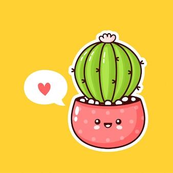 Nette glückliche lustige kaktuspflanze im topf mit sprechblase. flache karikatur kawaii charakterillustrationsikonenentwurf. sukkulenten lieben konzept