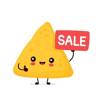 Nette glückliche lustige nachos mit verkaufsschild. cartoon charakter illustration icon design.isolated auf weißem hintergrund
