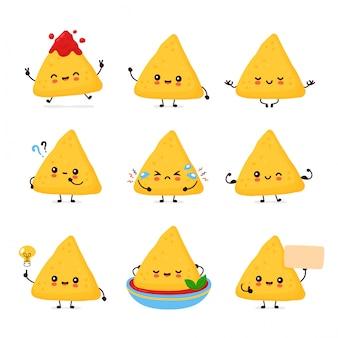Nette glückliche lustige nachos-set-sammlung. cartoon charakter illustration icon design.isolated auf weißem hintergrund