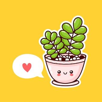 Nette glückliche lustige pflanze im topf mit sprechblase. flache karikatur kawaii charakterillustrationsikonenentwurf. sukkulenten lieben konzept