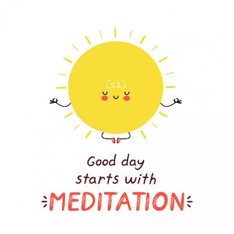 Nette glückliche lustige sonne meditieren. cartoon charakter illustration icon design.isolated auf weißem hintergrund. guter tag beginnt mit meditationskarte
