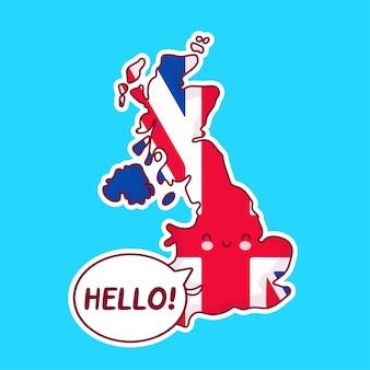 Nette glückliche lustige vereinigte königreich karte und flaggencharakter mit hallo wort in der sprechblase