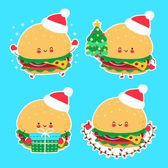 Nette glückliche lustige weihnachtsburger-set-sammlung. hand gezeichnete artillustration der zeichentrickfigur. weihnachten, neujahrskonzept