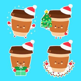 Nette glückliche lustige weihnachtskaffeeset-sammlung. hand gezeichnete artillustration der zeichentrickfigur. weihnachten, neujahrskonzept