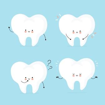 Nette glückliche menschliche zahnzeichensatzsammlung.