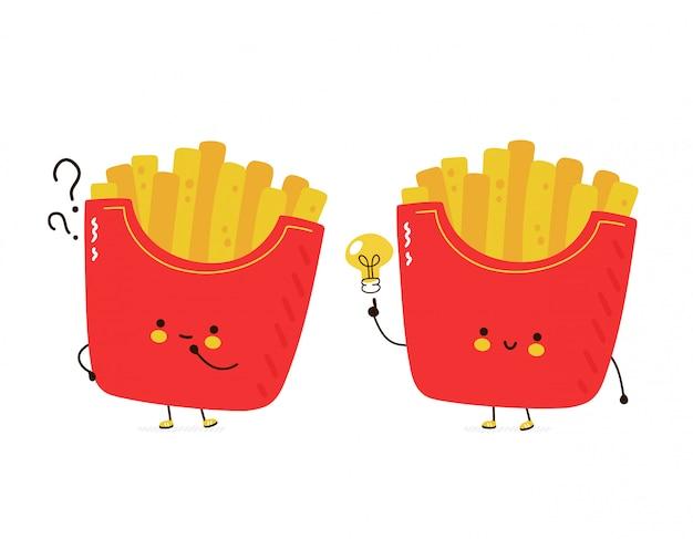 Nette glückliche pommes frites mit fragezeichen und ideenglühbirne. auf weißem hintergrund isoliert. hand gezeichnete artillustration der zeichentrickfigur