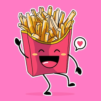 Nette glückliche pommes frites-symbolkarikaturillustration