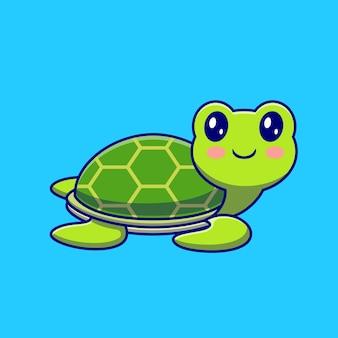 Nette glückliche schildkröte, die karikatur schwimmt. tierisches sportliches symbolkonzept isoliert. flacher cartoon-stil