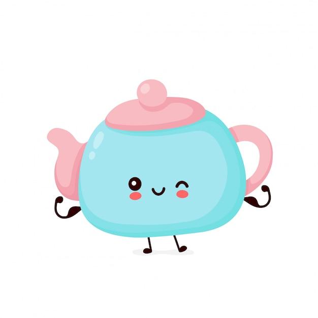 Nette glückliche stark stark lächelnde teekanne zeigen muskel. zeichentrickfigur.