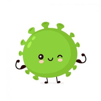 Nette glückliche starke starke gute probiotische bakterien zeigen muskel. zeichentrickfigur. enterische probiotische bakterien, darm- und darmflora-konzept