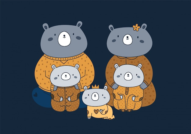 Nette glückliche tierfamilie der teddybären