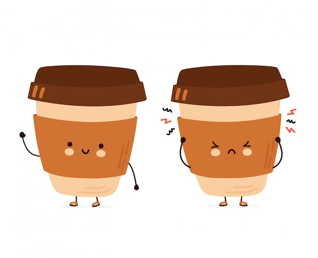 Nette glückliche und traurige lustige kaffeetasse. hand gezeichnete artillustration der zeichentrickfigur