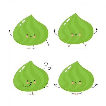 Nette glückliche wasabi-zeichensatzsammlung. isoliert auf weiss vektorzeichentrickfilm-figur-illustrationsdesign, einfache flache art. wasabi gehen, trainieren, denken, meditieren konzept