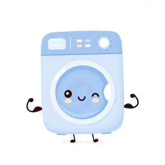 Nette glückliche waschmaschine zeigen muskel. auf weißem hintergrund isoliert. waschmaschinen-charakter-konzept