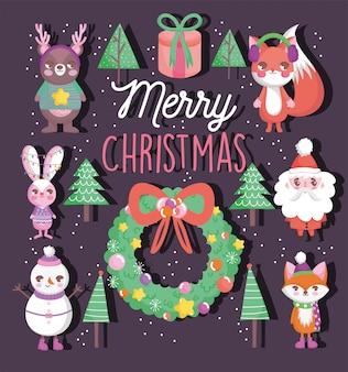 Nette glückliche weihnachtsaufkleber