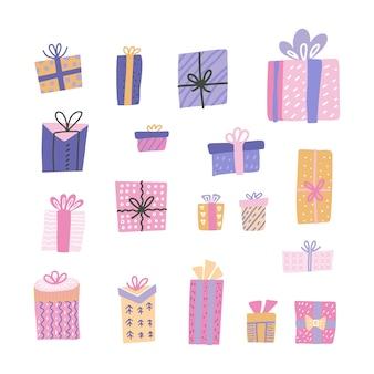 Nette große sammlungskarikaturgeschenkbox mit hand gezeichneten gekritzelelementen. st von verzierten geschenken mit bögen und bändern.