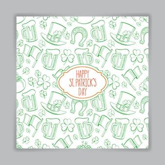 Nette grüne grußkarte für st. patrick`s day. handgezeichnete illustration.