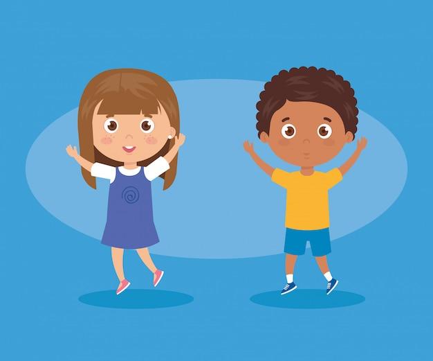 Nette gruppe kindercharaktervektor-illustrationsdesign