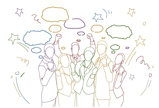 Nette gruppe wirtschaftler, die angehobene handglückliches erfolgreiches team colorful doodle silhouettes halten