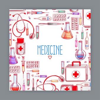 Nette grußkarte mit medizinischen vorräten. handgezeichnete illustration
