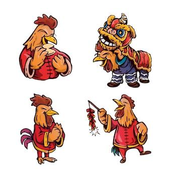 Nette hahn-zeichentrickfilm-figur-illustration des chinesischen neujahrsfests