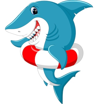 Nette haifischkarikatur mit aufblasbarem ring