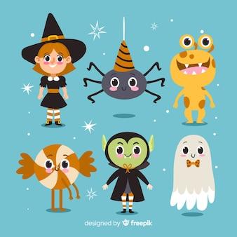 Nette halloween-charakter-sammlung