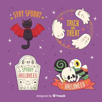 Nette halloween-charakterabzeichen auf violettem hintergrund