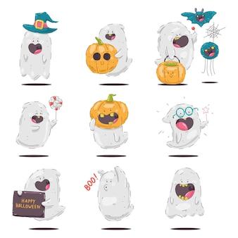 Nette halloween-geistervektorzeichentrickfilm-figuren eingestellt lokalisiert auf einem weißen hintergrund.