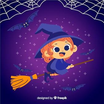 Nette halloween-hexe auf besen