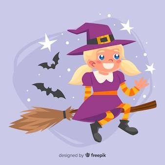 Nette halloween-hexe auf einem besen